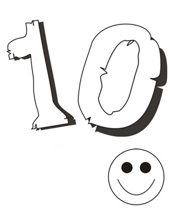 Number 10, : Kids Smile for Number 10 Coloring Page