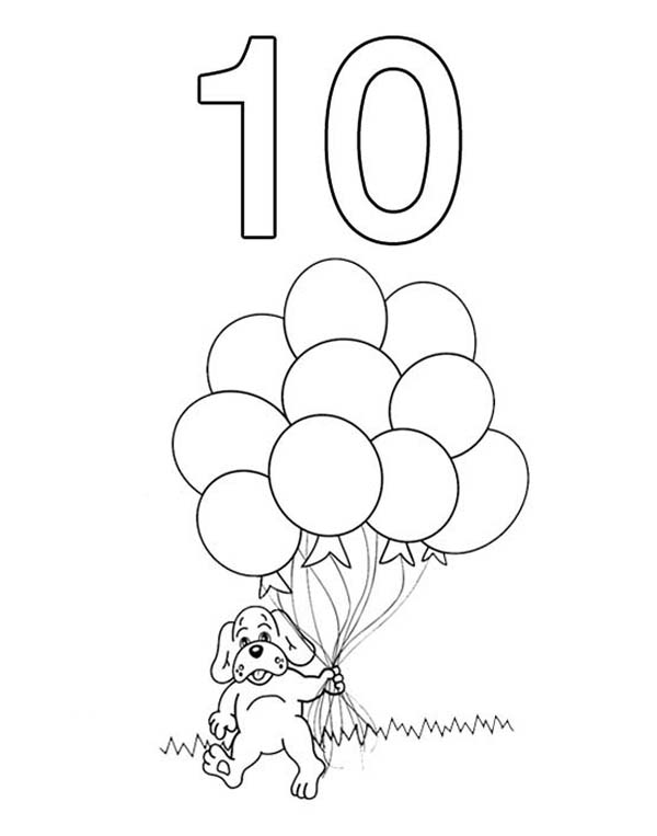 Number 10, : Kindergarden Kids Learn Number 10 Coloring Page