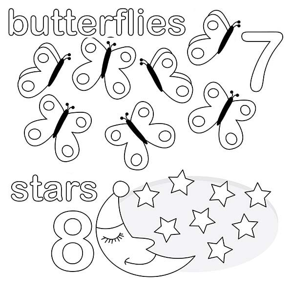 Number 8, : Kindergarden Kids Learn Number 8 Coloring Page