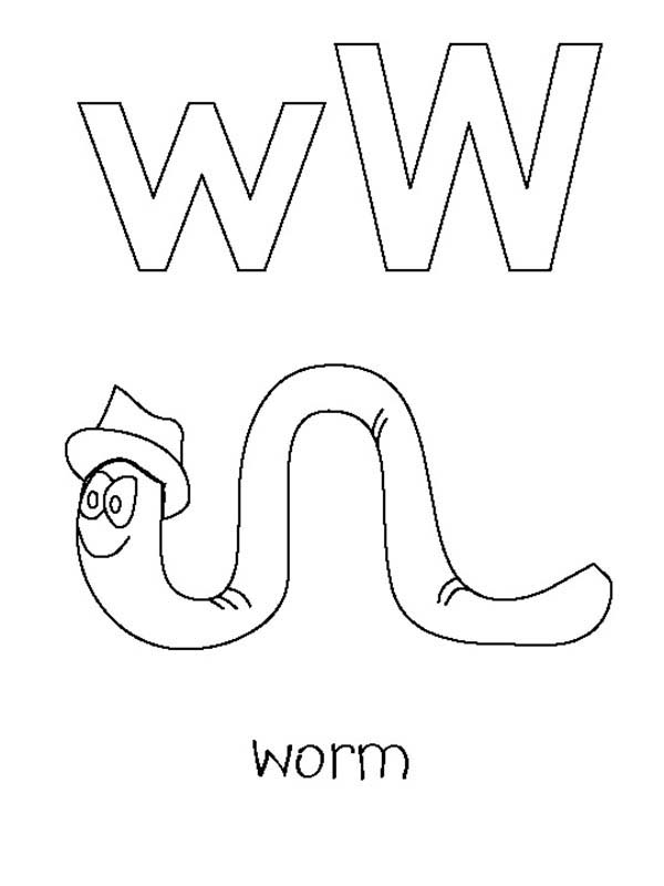 Letter W, : Kindergarden Kids Letter W for Worm Coloring Page