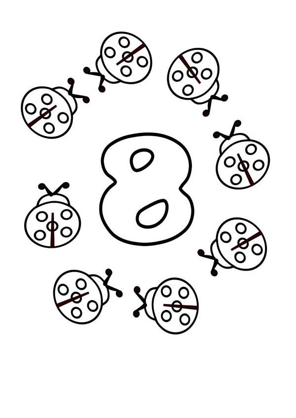 Number 8, : Ladybugs Surrounds Number 8 Coloring Page
