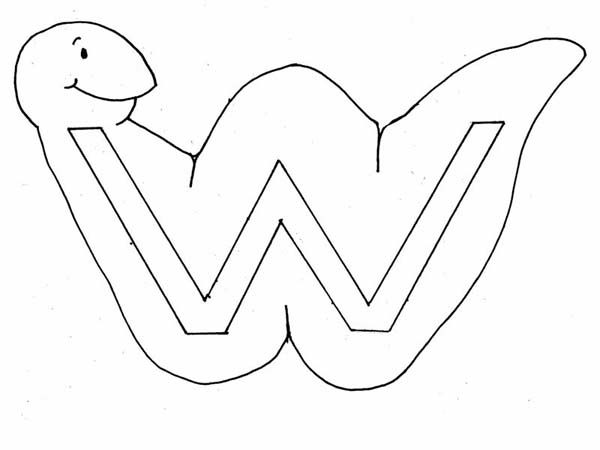 Letter W, : Learn Letter W with Worm Coloring Page