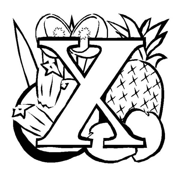 Letter X, : Learn Letter X Coloring Page Fruit Edition