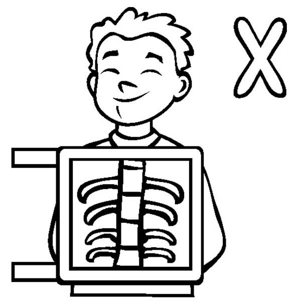 Letter X, : Learn Letter X for X Ray Coloring Page