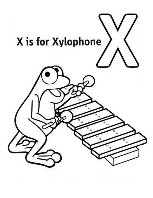Letter X, : Learn Letter X for Xylophone Coloring Page
