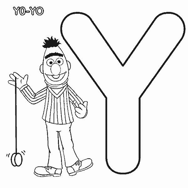 Letter Y, : Learn Letter Y for Yo Yo in Sesame Street Coloring Page