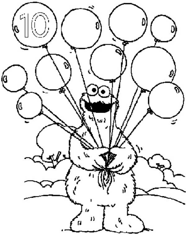 Number 10, : Learn Number 10 with Ten Balloons in Sesame Street Coloring Page