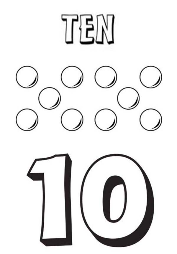 Number 10, : Learn Number 10 with Ten Balls Coloring Page