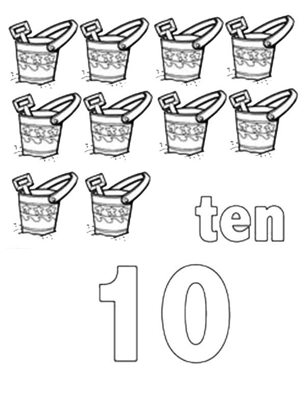 Number 10, : Learn Number 10 with Ten Buckets and Shovels Coloring Page