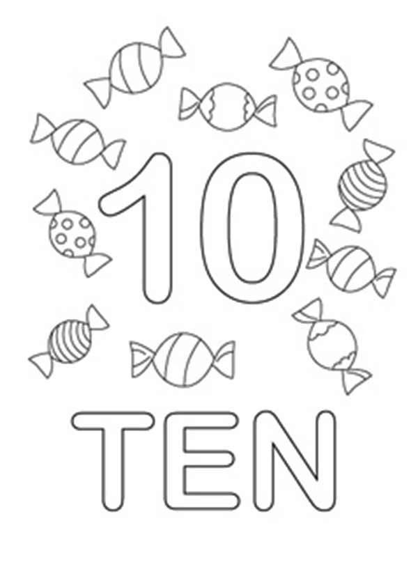 Number 10, : Learn Number 10 with Ten Candies Coloring Page