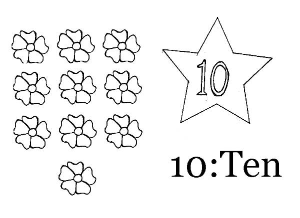 Number 10, : Learn Number 10 with Ten Flowers Coloring Page