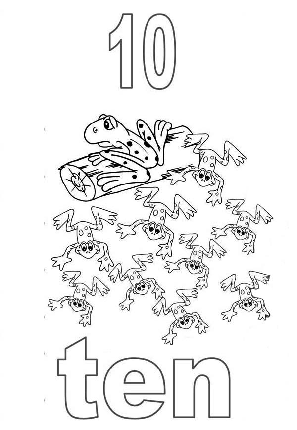 Number 10, : Learn Number 10 with Ten Frogs Coloring Page