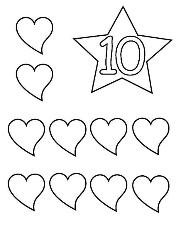 Number 10, : Learn Number 10 with Ten Hearts Coloring Page