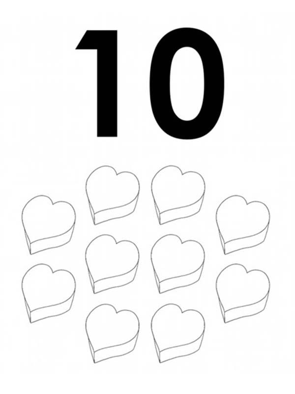 Number 10, : Learn Number 10 with Ten Love Coloring Page