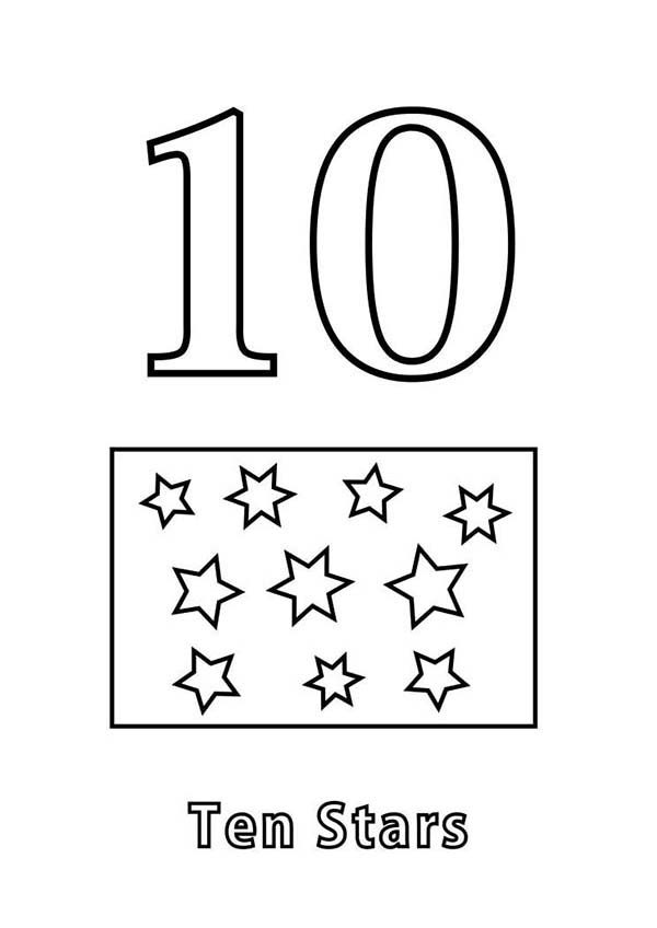 Number 10, : Learn Number 10 with Ten Stars Coloring Page