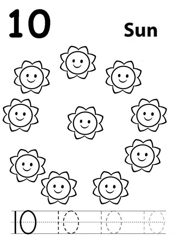 Number 10, : Learn Number 10 with Ten Suns Coloring Page