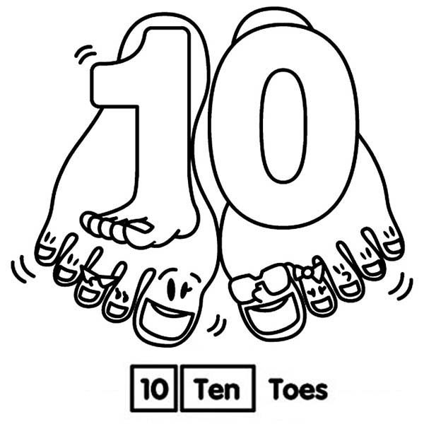Number 10, : Learn Number 10 with Ten Toes Coloring Page