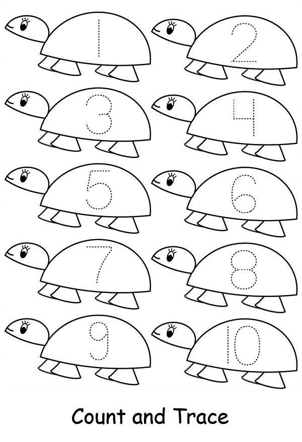 Number 10, : Learn Number 10 with Ten Turtles Coloring Page