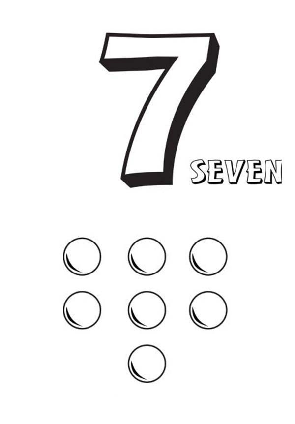 Number 7, : Learn Number 7 with Seven Balls Coloring Page