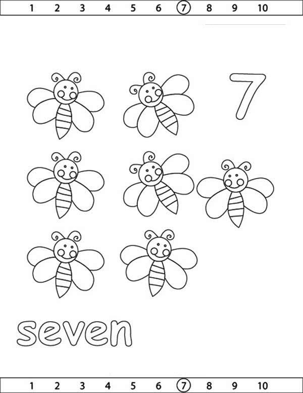 Number 7, : Learn Number 7 with Seven Bees Coloring Page