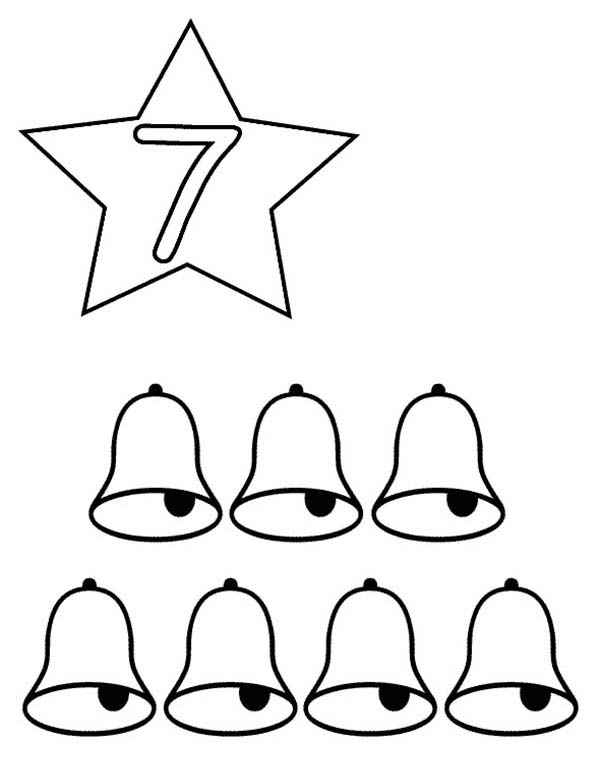 Number 7, : Learn Number 7 with Seven Bells Coloring Page