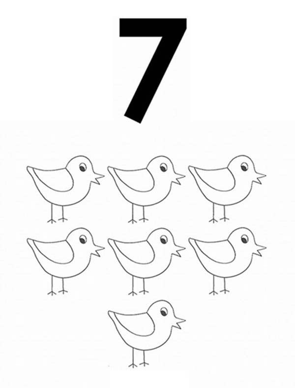 Number 7, : Learn Number 7 with Seven Birds Coloring Page