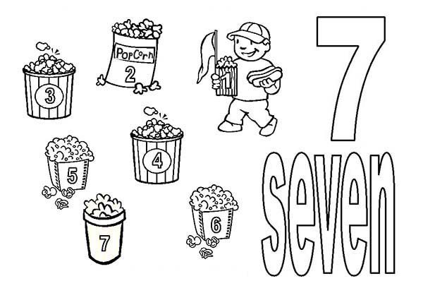 Number 7, : Learn Number 7 with Seven Bucket of Popcorns Coloring Page