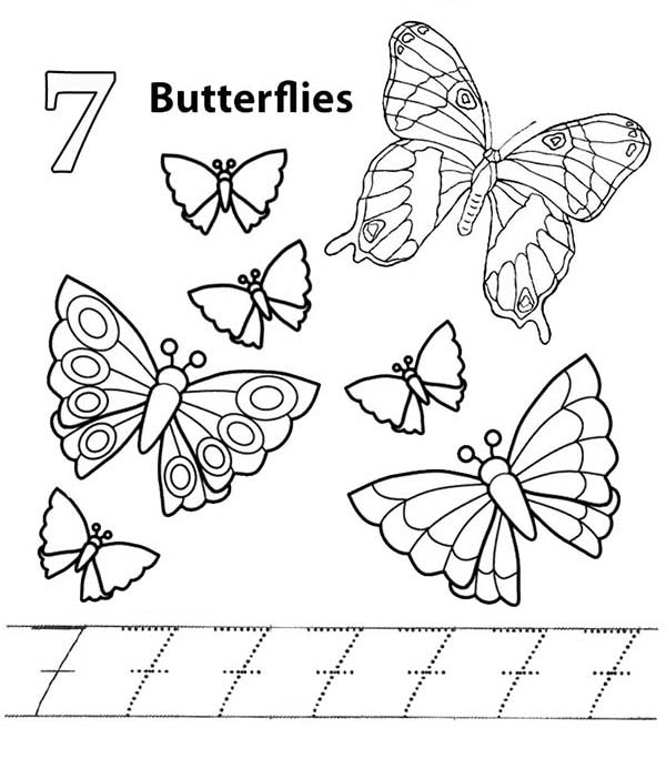 Number 7, : Learn Number 7 with Seven Butterflies Coloring Page