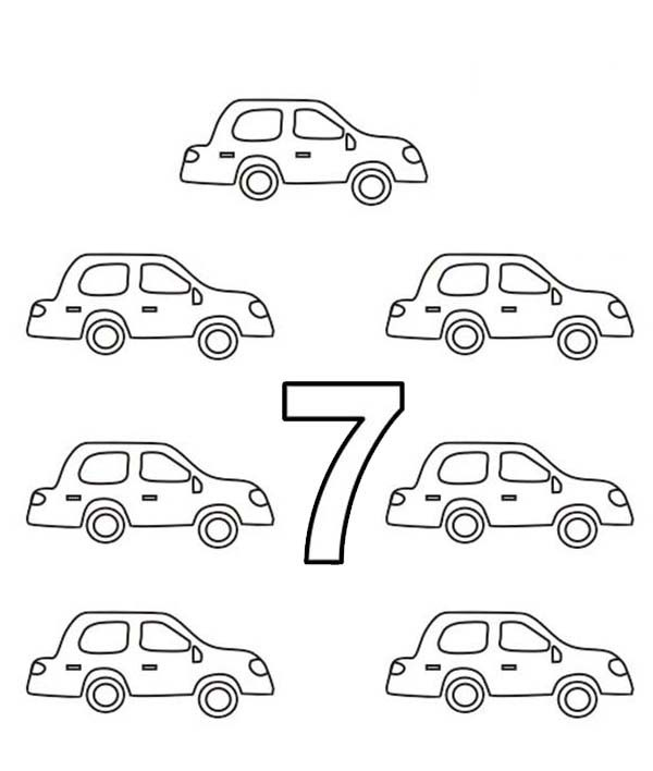 Number 7, : Learn Number 7 with Seven Cars Coloring Page