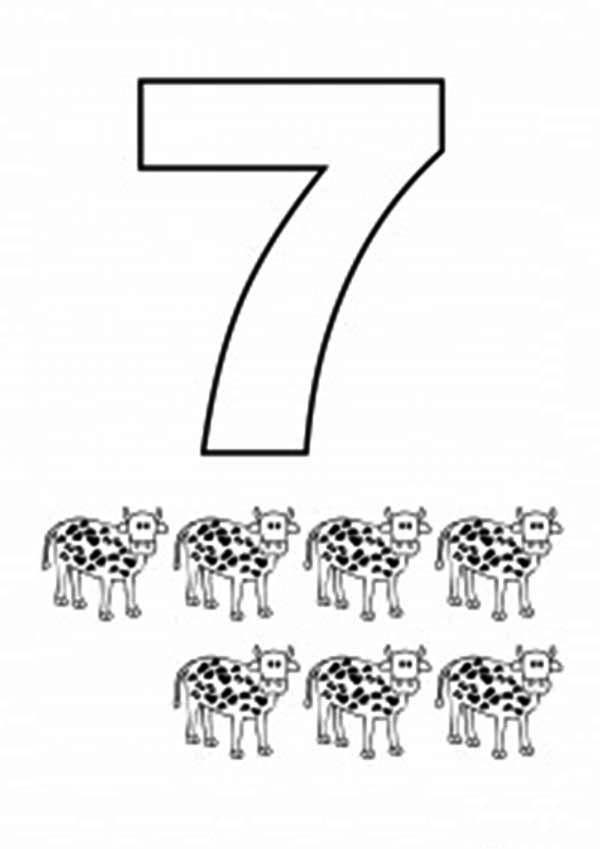 Number 7, : Learn Number 7 with Seven Cows Coloring Page