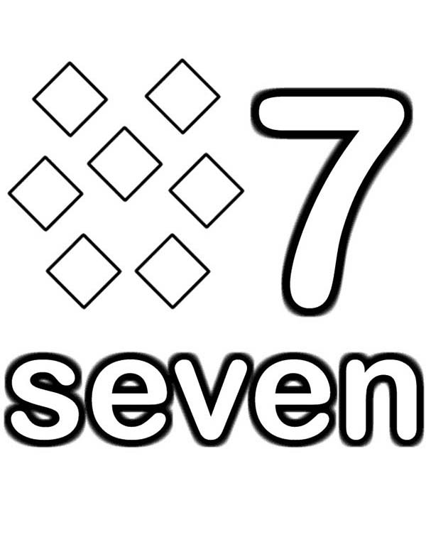 Number 7, : Learn Number 7 with Seven Diamonds Coloring Page
