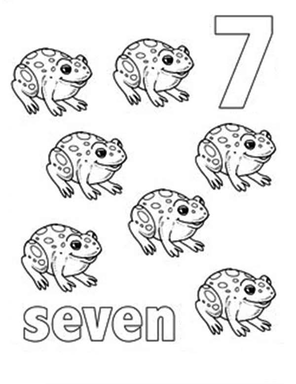 Number 7, : Learn Number 7 with Seven Frogs Coloring Page