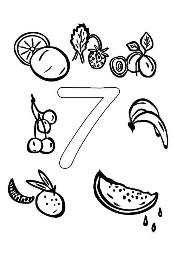 Number 7, : Learn Number 7 with Seven Fruits Coloring Page