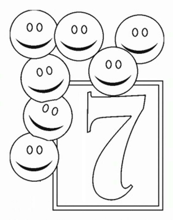 Number 7, : Learn Number 7 with Seven Smiley Faces Coloring Page