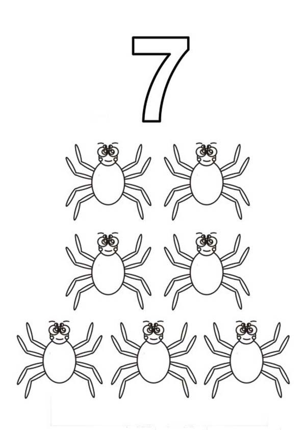 Number 7, : Learn Number 7 with Seven Spiders Coloring Page