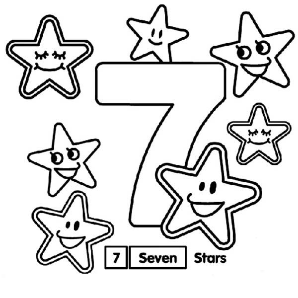 Number 7, : Learn Number 7 with Seven Stars Coloring Page
