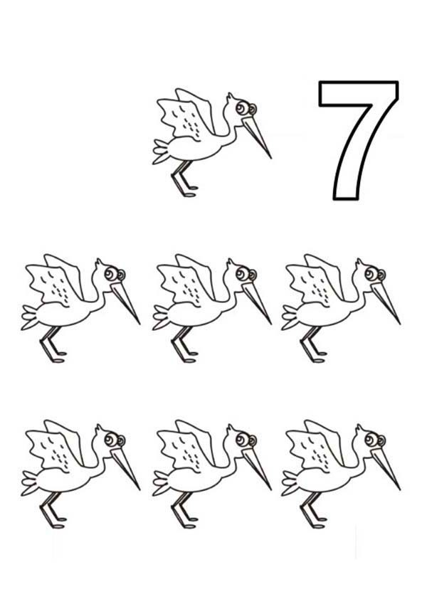 Number 7, : Learn Number 7 with Seven Storks Coloring Page