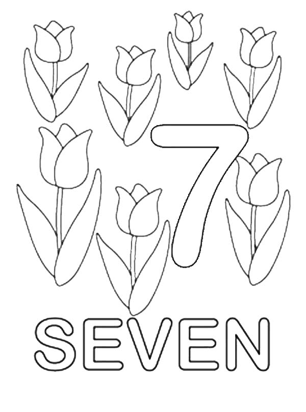 Number 7, : Learn Number 7 with Seven Tulips Coloring Page