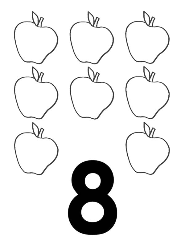 Number 8, : Learn Number 8 with Eight Apples Coloring Page