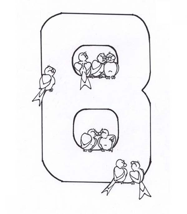 Number 8, : Learn Number 8 with Eight Bids Coloring Page