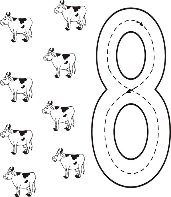 Number 8, : Learn Number 8 with Eight Cows Coloring Page