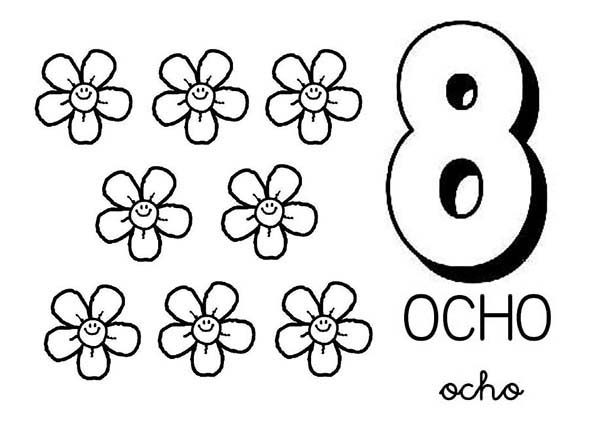 Number 8, : Learn Number 8 with Eight Flower Coloring Page