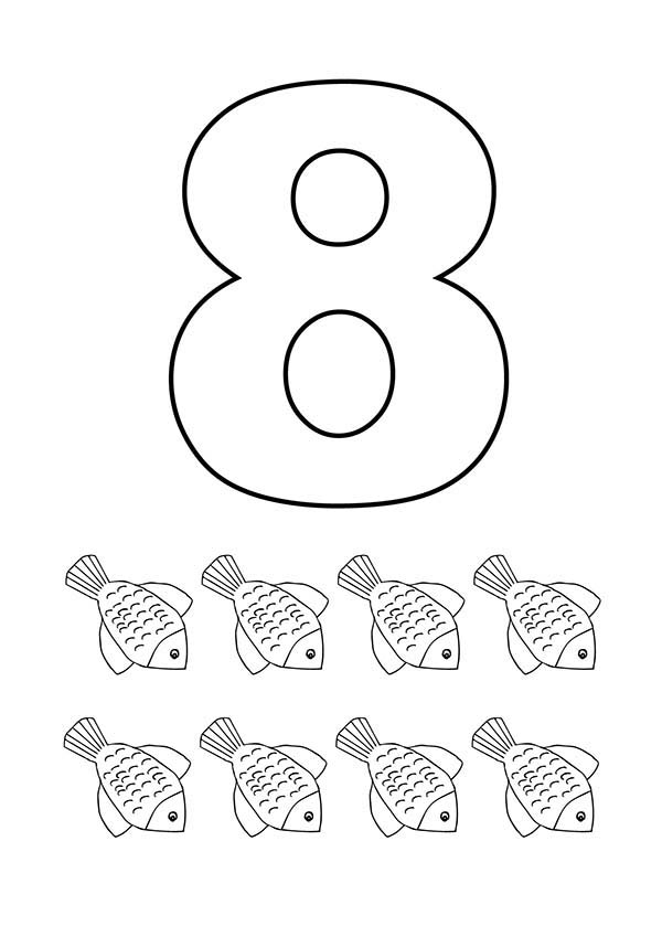 Number 8, : Learn Number 8 with Eight Flower Fishes Coloring Page