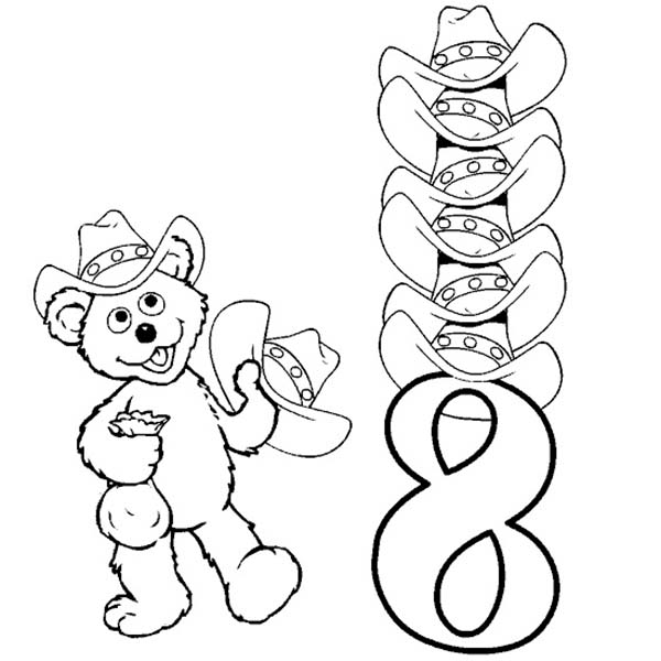 Number 8, : Learn Number 8 with Eight Hats Coloring Page
