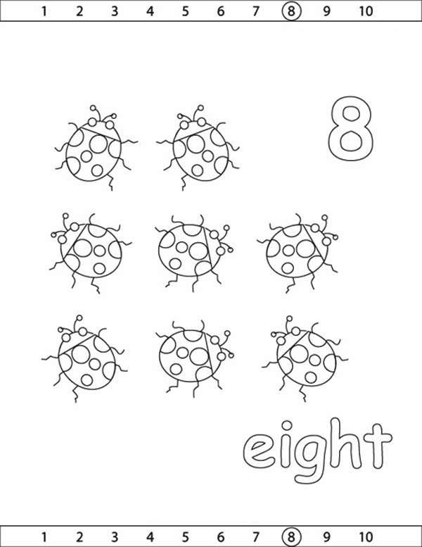 Number 8, : Learn Number 8 with Eight Lady Bugs Coloring Page