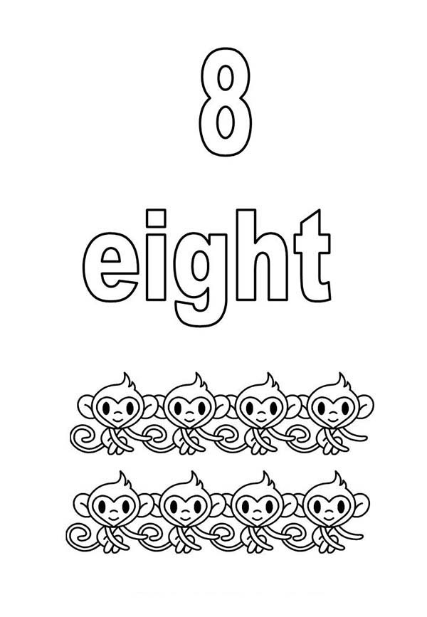 Number 8, : Learn Number 8 with Eight Monkeys 'Coloring Page