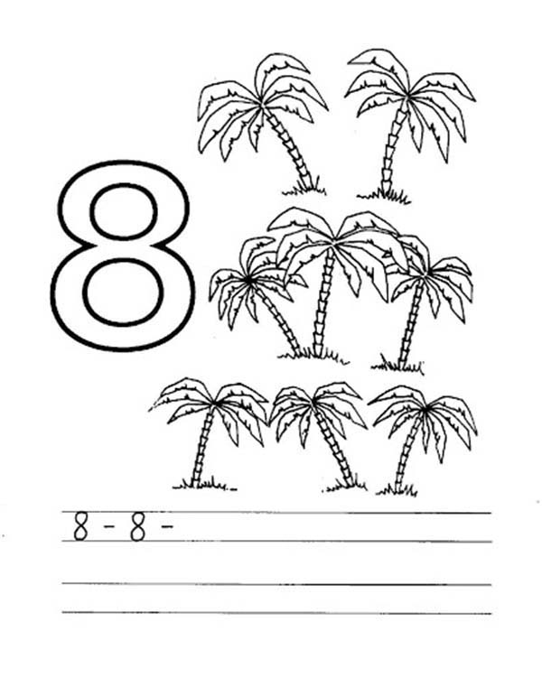Number 8, : Learn Number 8 with Eight Palm Tree Coloring Page