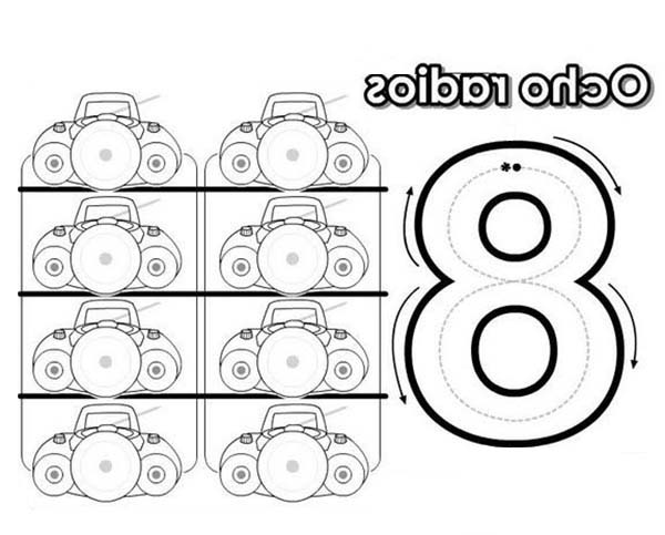 Number 8, : Learn Number 8 with Eight Radios Coloring Page