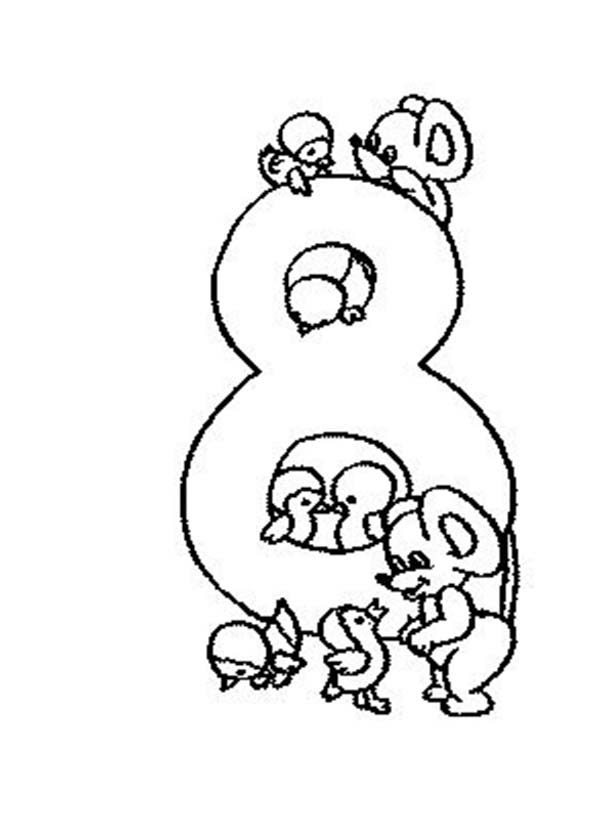 Number 8, : Learn Number 8 with Eight Rats Coloring Page