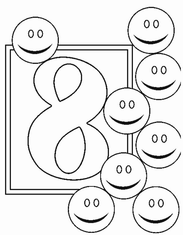Number 8, : Learn Number 8 with Eight Smiley Faces Coloring Page